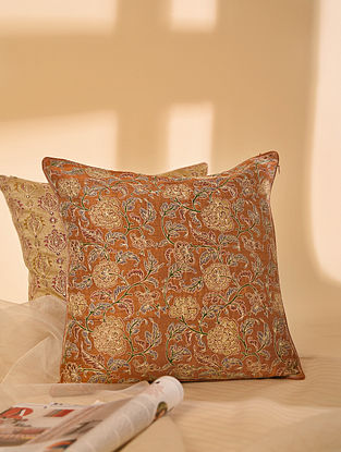 Brown Hand block Printed and Hand Embroidered in Aari Work Dupion Silk Cushion Cover (L-16in, W-16in)
