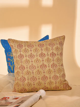 Gold Hand block Printed and Hand Embroidered in Aari Work Dupion Silk Cushion Cover (L-16in, W-16in)