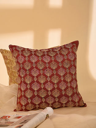 Red Hand block Printed and Hand Embroidered in Aari Work Dupion Silk Cushion Cover (L-16in, W-16in)