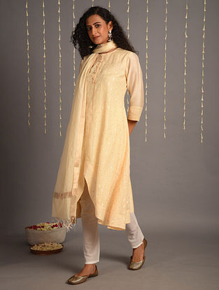 Cream Cotton Chanderi Dupatta