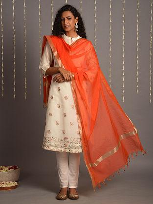 Vermillion Cotton Chanderi Dupatta