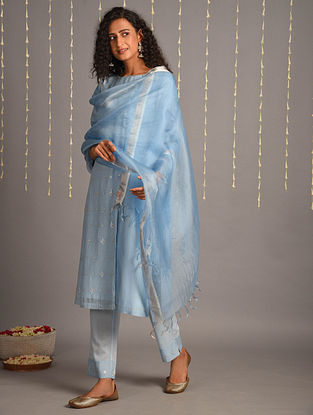 Blue Cotton Chanderi Dupatta