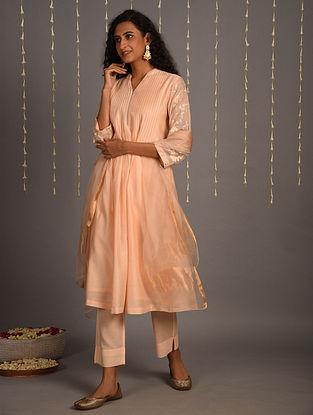 Peach Cotton Chanderi Dupatta