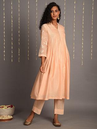 Peach Chanderi Kurta Dress