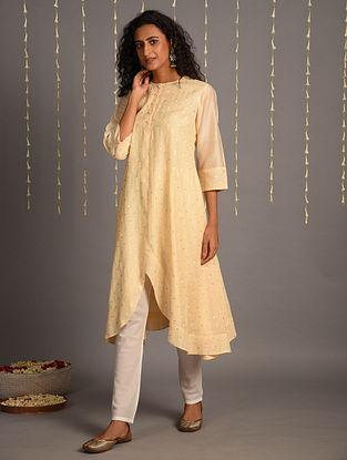 Cream Embroidered Cotton Chanderi Kurta