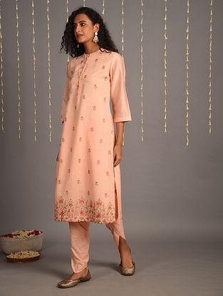 Pink Embroidered Cotton Chanderi Kurta