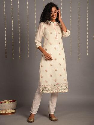 Off White Embroidered Chanderi Kurta