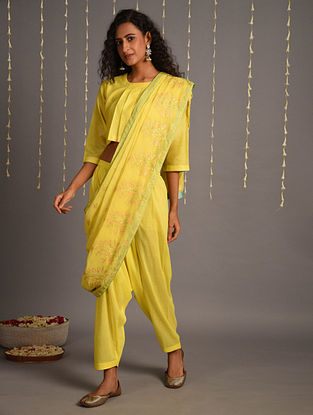Lemon Yellow Cotton Pants with Pre Draped Embroidered Chanderi Dupatta