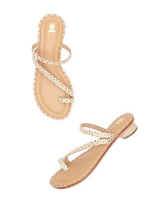 Beige Handcrafted Leather Block Heels