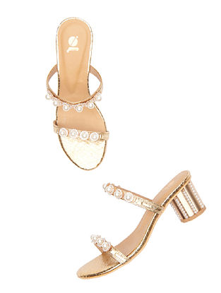Gold Handcrafted Leather Block Heels