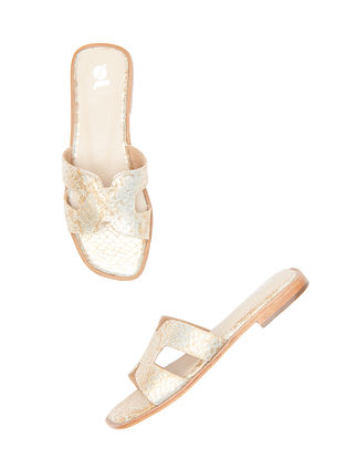 Champagne Handcrafted Leather Flats