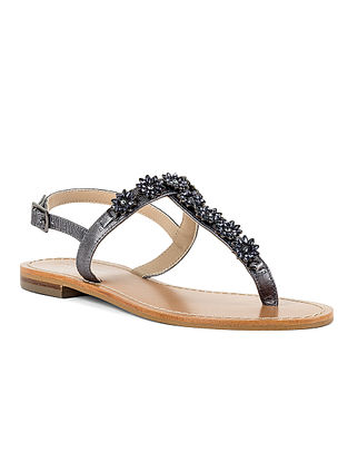 Grey Handcrafted Leather Sandals
