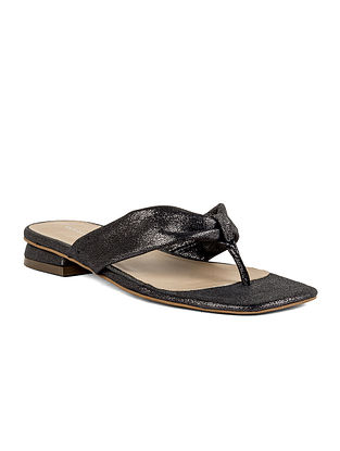 Grey Handcrafted Leather Flats