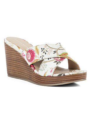 White Printed Leather Wedges