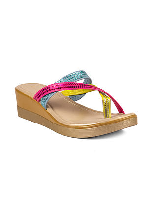 Multicolored Handcrafted Sequinned Leather Wedges