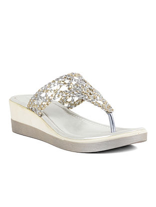 Silver Handcrafted Leather Wedges