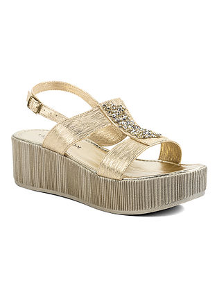 Gold Handcrafted Leather Wedges