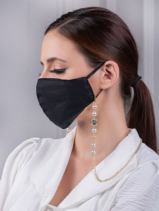 white Gold Tone Handcrafted Mask Chain With Pearls And Zircon