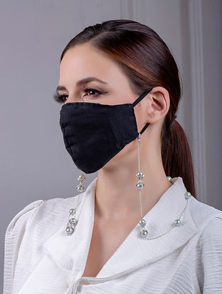 Green Silver Tone Handcrafted Mask Chain With Pearls And Zircon