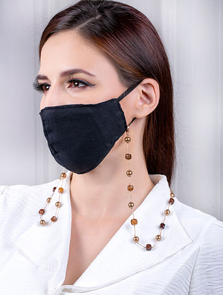 Brown Handcrafted Mask Chain With Pearls And Agate