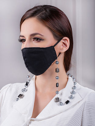 Black Grey Handcrafted Mask Chain With Pearls And Onyx