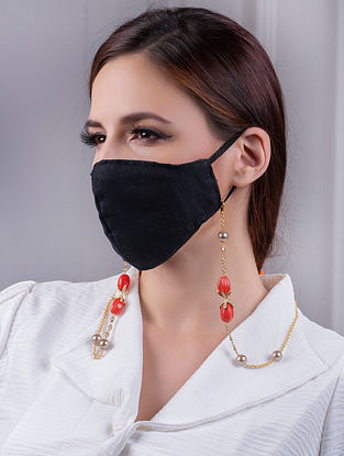 Orange Gold Tone Handcrafted Mask Chain With Coral Pearls And Zircon