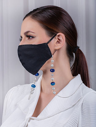 Blue Grey Silver Tone Handcrafted Mask Chain With Agate Pearls And Zircon