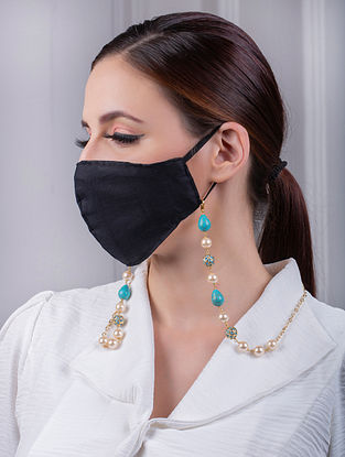 Turquoise Cream Gold Tone Handcrafted Mask Chain With Turquoise And Pearls
