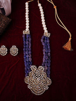 Blue Gold Tone beaded Necklace With Earrings