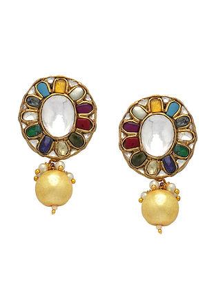 Multicolored Gold Tone Navratan Kundan Earrings With Pearls
