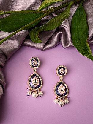 Blue Pink Gold Tone Enameled Kundan Earrings with pearls