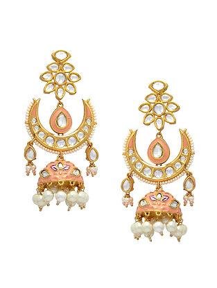 Pink Gold Tone Enameled Kundan Jhumki Earrings with pearls