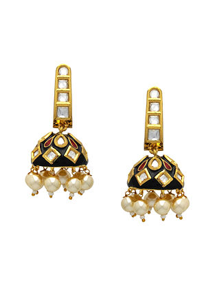 Black Gold Tone Kundan Enameled Jhumki Earrings with pearls