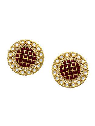 Red Gold Tone Enameled Kundan Earrings