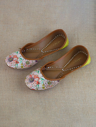 Blush Pink Yellow Sequinned Printed Silk Leather Juttis