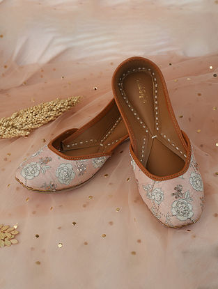 Pink Rose Gold Handcrafted Printed Silk Leather Juttis