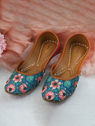 Emerald Green Pink Handcrafted Printed Silk Leather Juttis