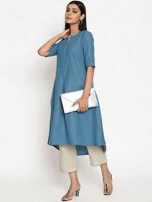 Steel Blue Cotton Linen Kurta and Pant