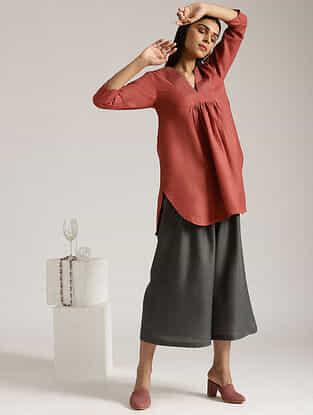 Barn Red Cotton Linen Kurta and Palazzo
