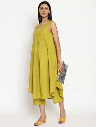 Lime Green Cotton Linen Kurta and Pant