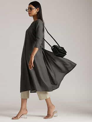 Dark Grey Cotton Linen Kurta and Pant