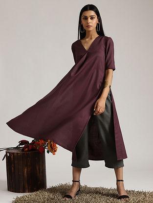Purple Cotton Linen Kurta and Pant