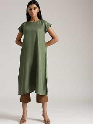 Olive Green Cotton Linen Kurta and Pant