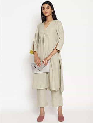 Light Grey Cotton Linen Kurta and Pant