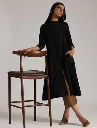 Black Cotton Linen Kurta and Pant
