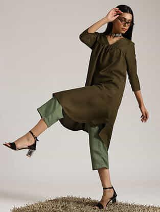 Dark Green Cotton Linen Kurta and Pant