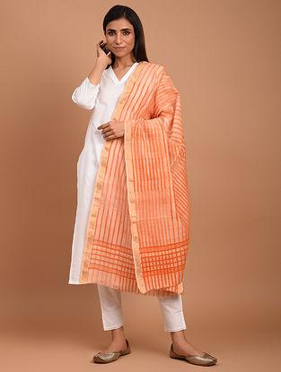 Orange Chanderi Block Printed  Silk  Dupatta