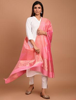 Pink Chanderi Block Printed  Silk  Dupatta