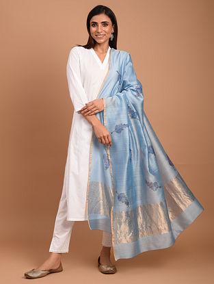 Blue Chanderi Block Printed  Silk  Dupatta
