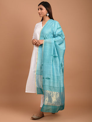 Green Chanderi Block Printed  Silk  Dupatta